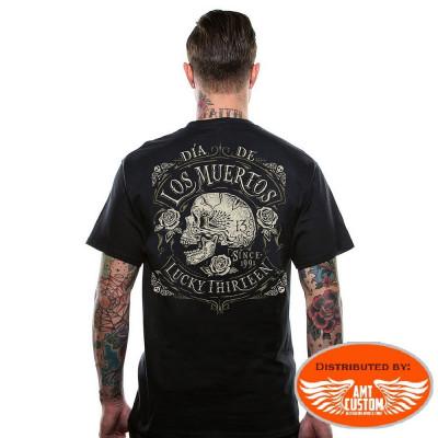 """Lucky 13 Skull """"Los Muertos"""" t-shirt"""