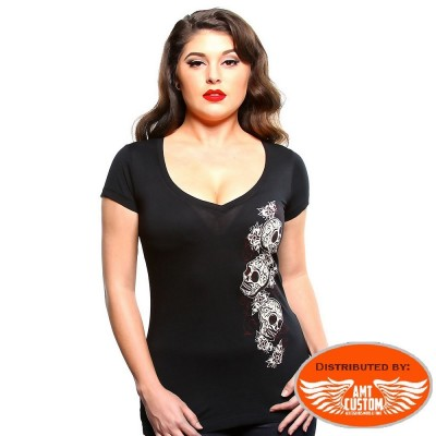 Lady Skull Sauvage Lucky 13 tshirt.