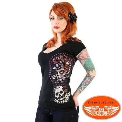 Lady Muerta & Skull Lucky 13 tshirt.
