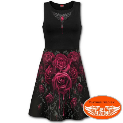 Robe ceintrée Roses Lady Rider.