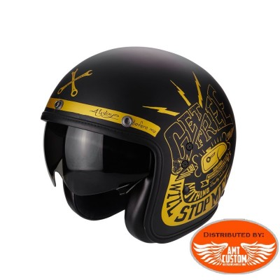 Casque Scorpion Belfast Fender Noir et Or - moto custom