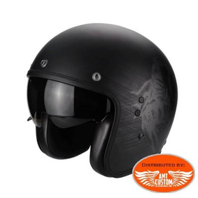 Casque Scorpion Belfast Sting Noir mat - moto custom
