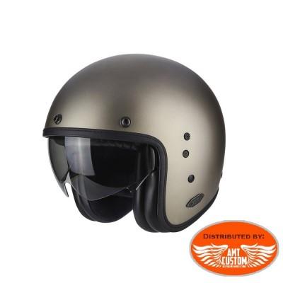 Casque Scorpion Belfast Solid Titanium - moto custom