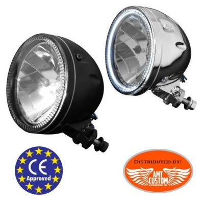 "Phare avant avec cerlage LED 145mm (5""3/4) 60/55W + Ampoule H4 Chrome ou noir moto custom Harley"