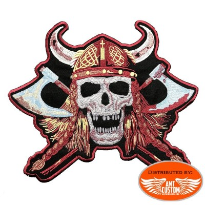 Skull Viking patch biker jacket vest