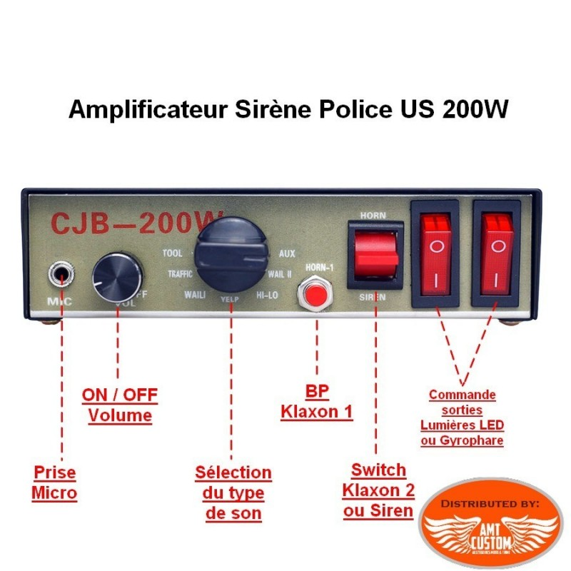 Police Electronic siren 200W 12V - 9 Tones + wired hand-held ... on