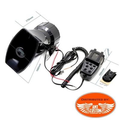 Dimensions Sirène Police US 100W 12V - 7 sons avec micro Haut Parleur Moto/Trike - Police americaine - Ambulance - Pompiers ...