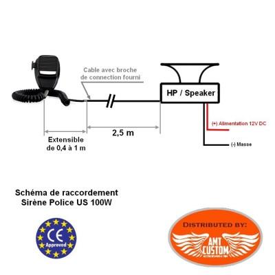 Schéma de raccordement Sirène Police US 100W 12V - 7 sons Moto / Trike - Police americaine - Ambulance - Pompiers ...
