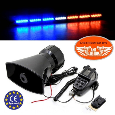 Police Electronic siren 60W 12V - 7 Tones + wired hand-held microphone and speaker Moto / Trike - Police - Ambulance - Fire ...