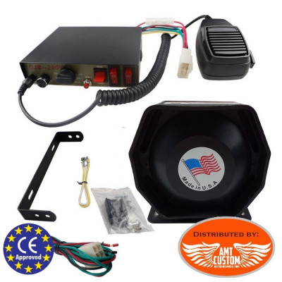 Police Electronic siren 200W 12V - 9 Tones + wired hand-held microphone and speaker Moto / Trike - Police - Ambulance - Fire ...