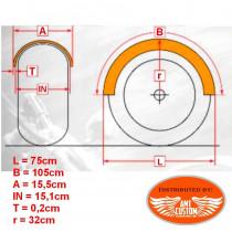 """Dimensions Garde-boue arrière universel plat 152mm (6"""") Bobber"""