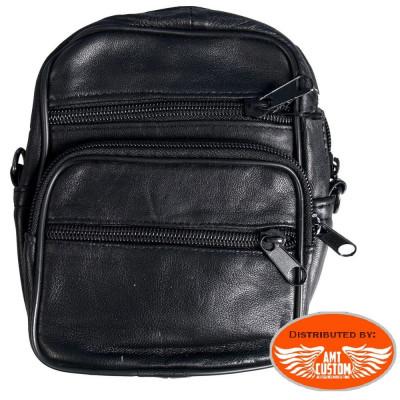 Sacoche pochette en cuir bandoulière pour Biker