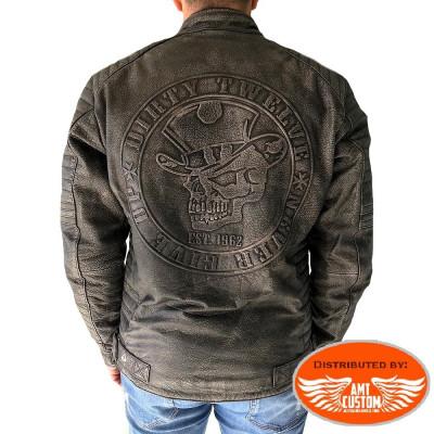 Skull Joker vintage leather biker jacket.