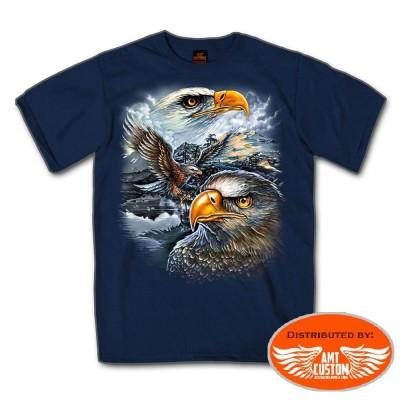 T-shirt Biker Bleu Moto Aigle Américain.