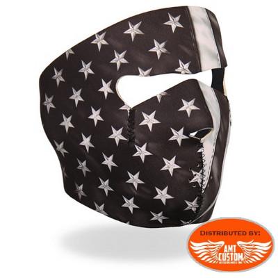 Neoprene biker mask USA flag.