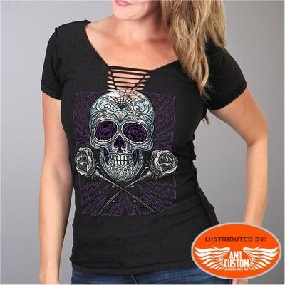 Tee-shirt Lady Tête de mort à lacet
