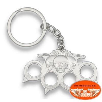 Porte-clés Biker Poing américain Skull