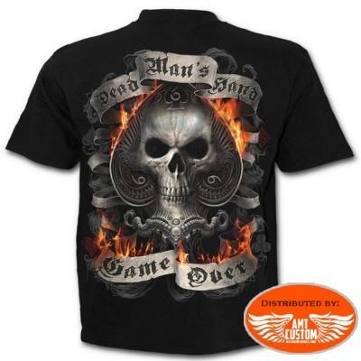 Tee shirt Biker Skull As de Pique Enflammé.
