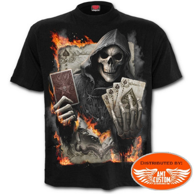 Tee shirt Biker Skull As de Pique Enflammé.
