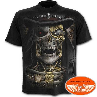 Tee shirt Biker Skull Steampunk.