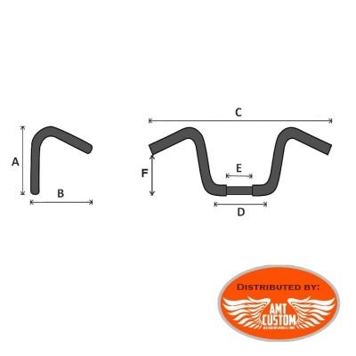 "Dimensions Guidon BAD Hawk chrome ou noir moto Custom et Harley 7"" 11"" et 15"""