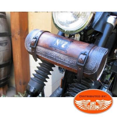 Sacoche outils Jack daniel's Cuir Marron pour  fourches motos Custom et Harley