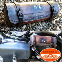 Sacoche outils Jack daniel's Cuir Marron sur sabres motos Custom et Harley