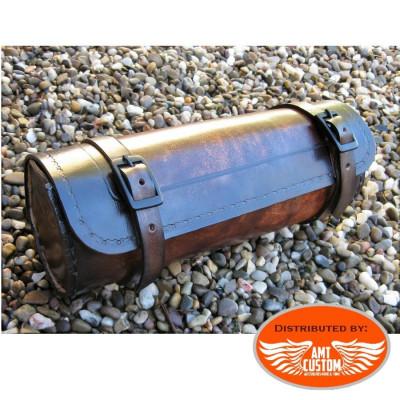 Sacoche outils Cuir Marron pour fourches ou sabres moto