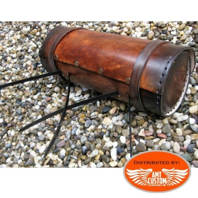 Fixation Sacoche outils Cuir Marron pour fourches ou sabres moto