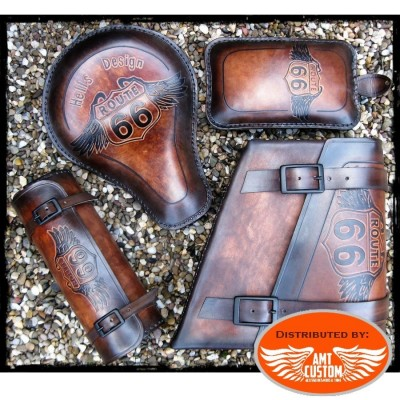 Kit Brown Leather Road 66 for solo seat motorcycle Universal Bobber Custom Choppers