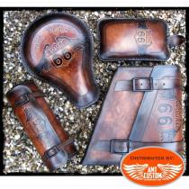 Ensemble cuir marron route 66 pour moto selle solo bobber