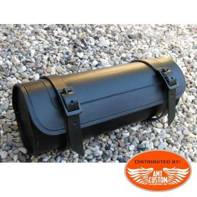 Sacoche outils Cuir Noir pour fourches ou sabres moto