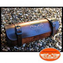 Sacoche outils Skull Cuir Marron pour fourches ou sabres moto Tete de Mort