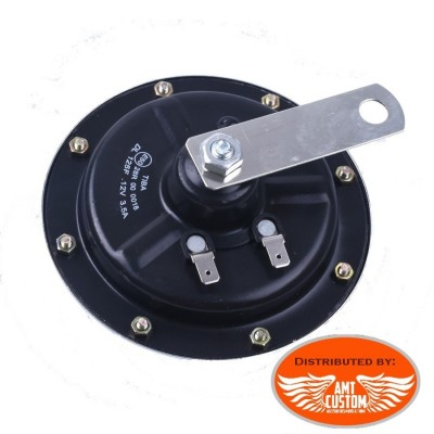 Back Old School Disc Horn 125mm 12V DC Universal chrome Motorcycles Harley Choppers Bobbers
