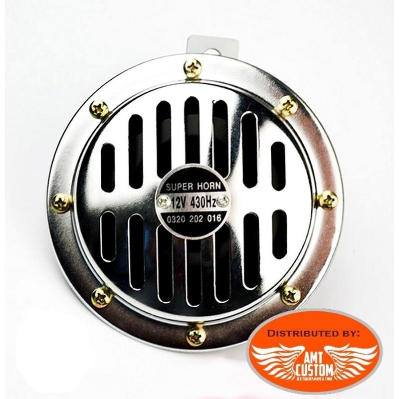 Old School Disc Horn 125mm 12V DC Universal chrome