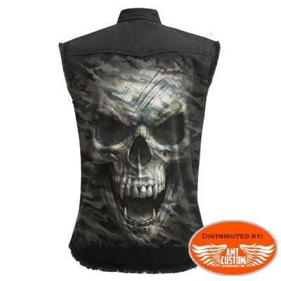 Skull Military Jeans Shirt jacket