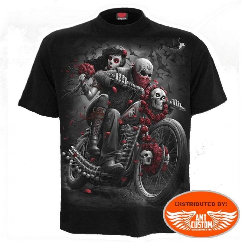 Tee shirt Biker Lady & Skull Vtwin.