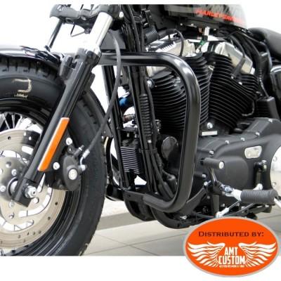 Black Fat engine guards 38mm for Sportster XL 883 1200 rectangular fit XL1200X with forward controls