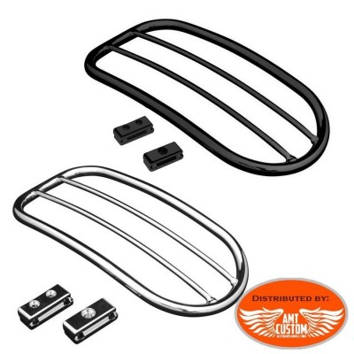 Harley Rack porte-bagage Chrome ou Noir pour Sportster, Dyna et Softail - Grille tubulaire