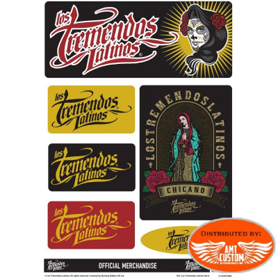 Lot de stickers Los Tremendos Latinos moto custom