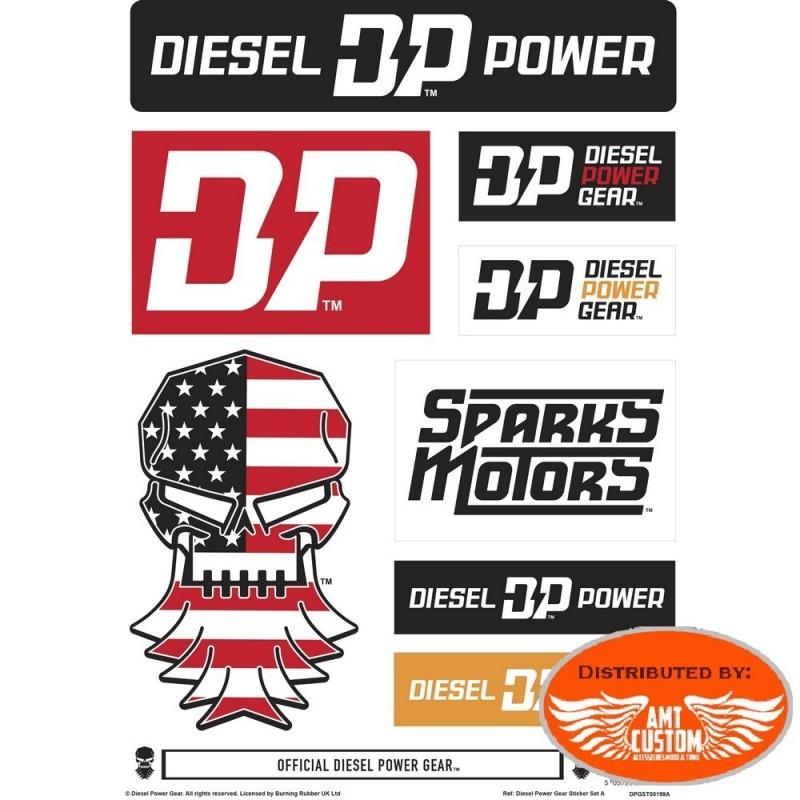 Lot de stickers Diesel Power Gear moto custom