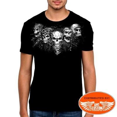 Skull Bones flag US biker tee-shirt