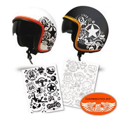 Planche de Stickers casque moto.