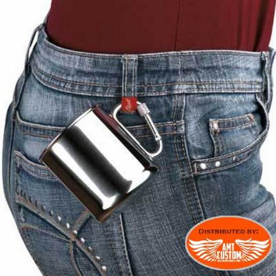 Tasse de poche avec mousqueton en acier.