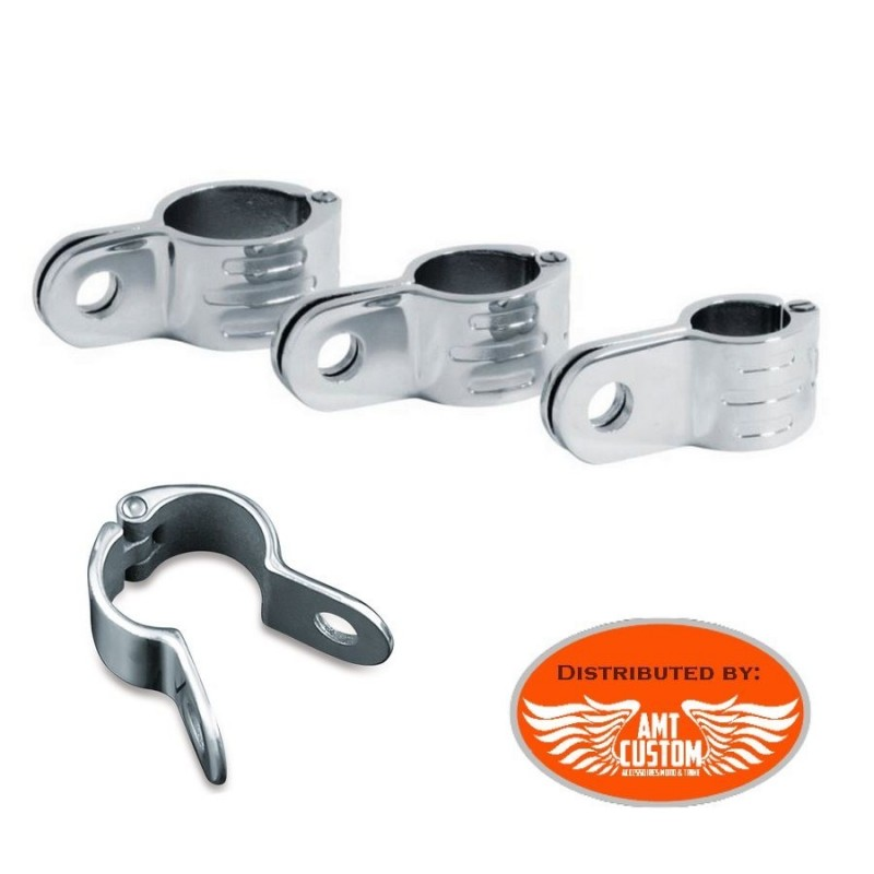 Attache articulée universelle chrome - Easy clamps moto tubes de 25 à 38mm
