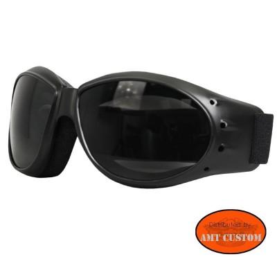 Lunettes Biker verres fumées Moto custom et Trike  protection des yeux décoartion du casque moto custom harley