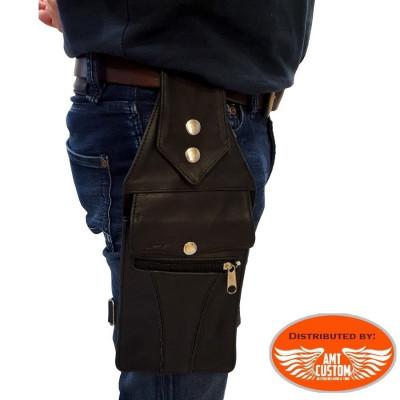 Sacoche de jambe cuir moto. Pochette jambière moto