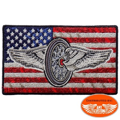 Winged wheel USA Flag Patch Biker jacket vest