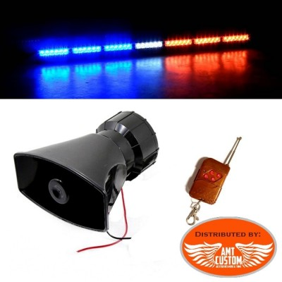 Police Electronic siren with wireless remote control 100W 12V - 3 Tones Moto / Trike - Police - Ambulance / Fire- Truck