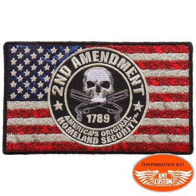 Ecusson Patch Drapeau américain Skull 2nd Amendment.